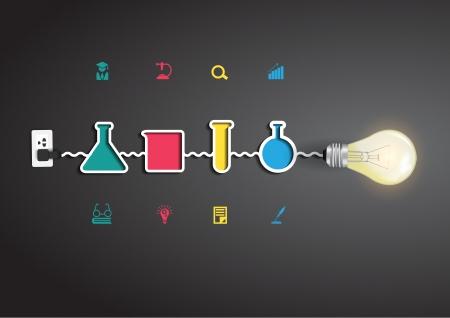Illustration pour Vector creative light bulb idea with chemistry and science icon education concept - image libre de droit