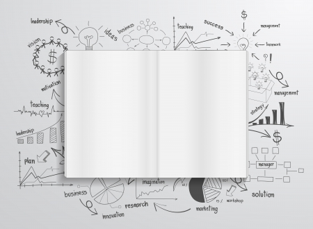 Book with drawing charts and graphs success business strategy plan concept idea