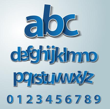 Vector alphabet set, paper, stickers, labels, tags