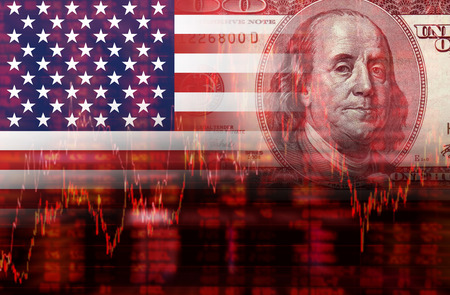 Crisis in USA - Shares Fall Graph on United States of America Flag with Face of Benjamin Franklin from one hundred dollars bill