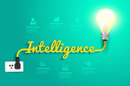 Intelligence concept with creative light bulb idea, Vector illustration modern design template