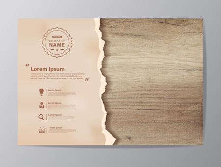 Illustration pour Ripped paper on texture of wood background, illustration modern design ( Image trace of wooden background ) - image libre de droit