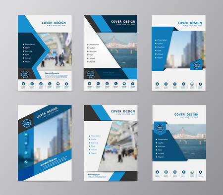 Blue annual report brochure design template , Set of leaflet cover presentation abstract flat background, layout in A4 size