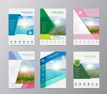 Illustration for Annual report brochure design template , Set of leaflet cover presentation nature landscape background, layout in A4 size - Royalty Free Image