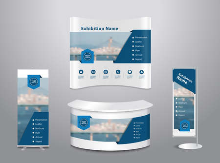 Illustration for Set of trade exhibition stand with cover presentation abstract geometric background, With texture of wood background - Royalty Free Image
