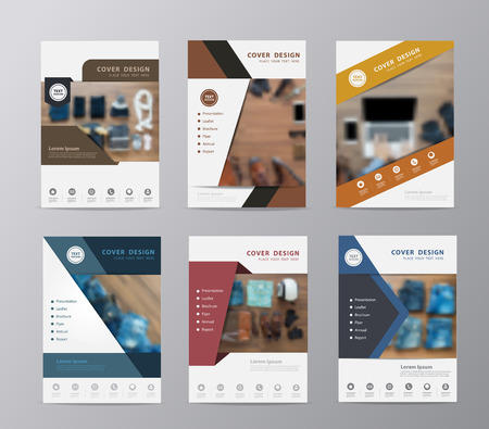 annual report brochure design template set of leaflet cover