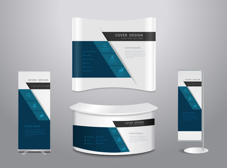 Exhibition stands with cover presentation abstract geometric background, Set of blank trade show booth mock up. Front view. Vector illustration modern layout template