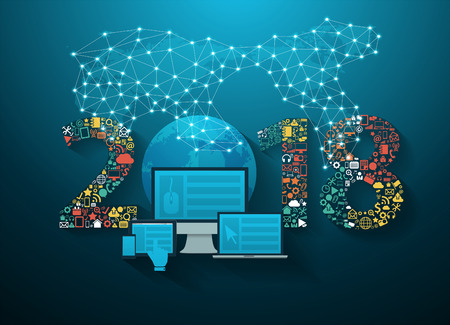 Photo pour 2018 new year business innovation technology set application icons, Vector illustration modern design layout template - image libre de droit