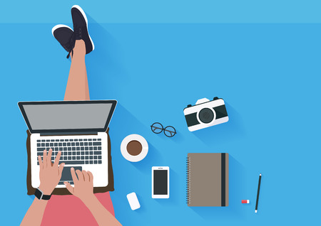 Illustration pour Woman sitting on the floor and working with laptop. Flat illustration top view of relaxing at home. Vector illustration - image libre de droit