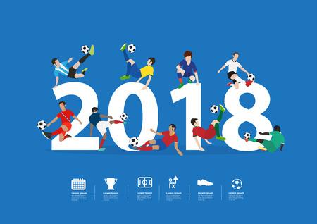 Foto für Soccer players in action on 2018 new year, Vector illustration layout template design - Lizenzfreies Bild