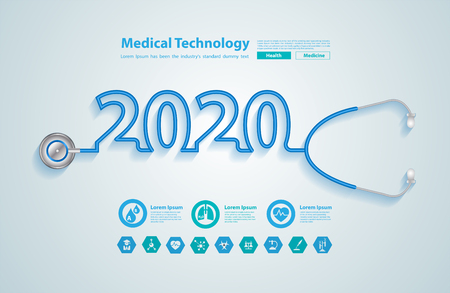 Illustration for 2020 new year creative design with stethoscope, And medical flat icons in medicine technology concept - Royalty Free Image