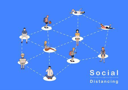 Illustration pour Vector social distancing people ideas concept, Prevent COVID-19 coronavirus disease - image libre de droit