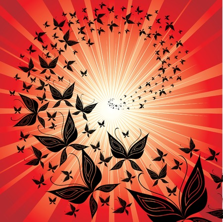 Red background with butterfly swarm flying to the sunset