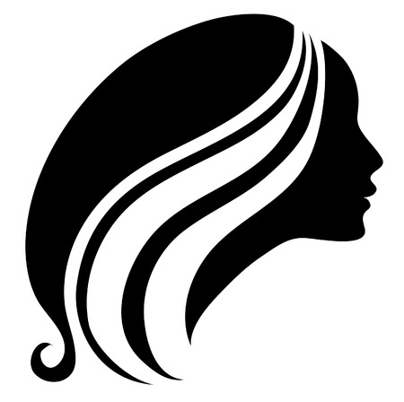 Illustration for silhouette of a girl with long beautiful hair - Royalty Free Image