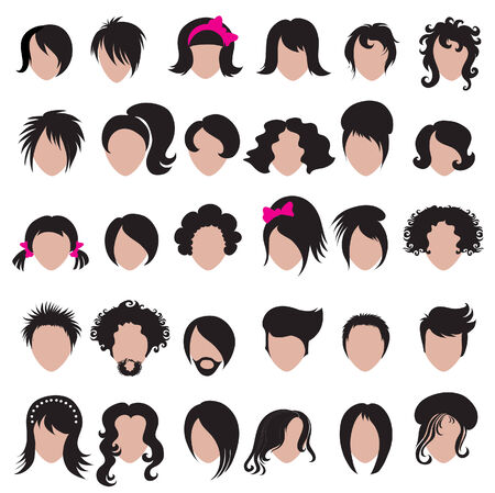 Big set of vector hair styling