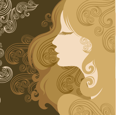 Closeup decorative vintage woman with beautiful hair