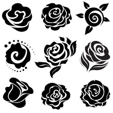 Set of black rose flower design elements