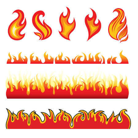 Set of hot fire design elements
