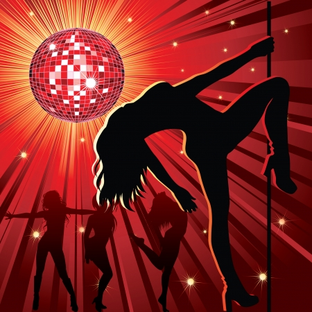 background - design with woman stripping, disco-ball and glitters