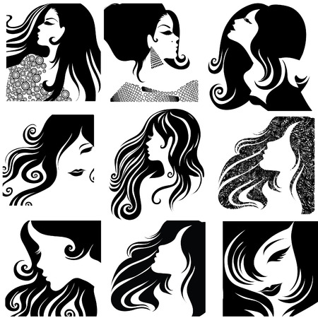 set of closeup silhouette portrait of beautiful woman with long hair