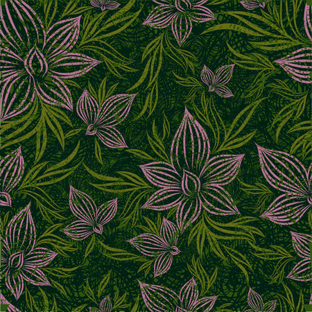 Vector grunge seamless floral pattern with lilly flower (From my big