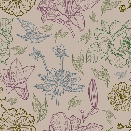 Vector seamless floral pattern with herbarium (from my big
