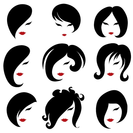 Big set of black hair styling for woman (from my big