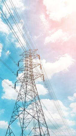 Photo for high voltage post isolated on blue sky background. Electricity Transmission Line. - Royalty Free Image