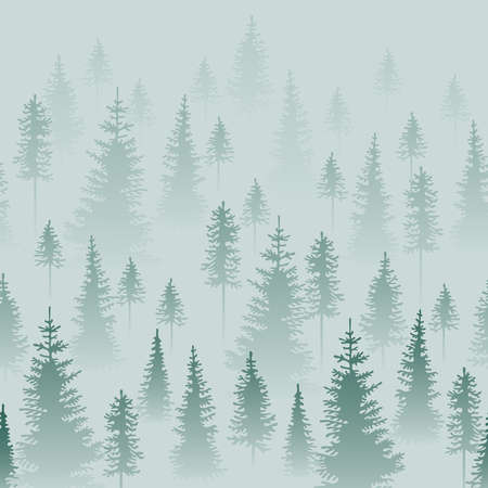 Illustration pour Foggy coniferous forest. Gray and green firs in the haze. Seamless border. - image libre de droit