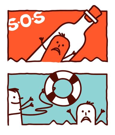 Illustration pour vector hand drawn cartoon characters - help & rescue - image libre de droit