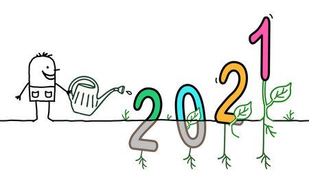 Illustration pour Hand drawn Cartoon Gardener Watering a big colored 2021 sign - image libre de droit