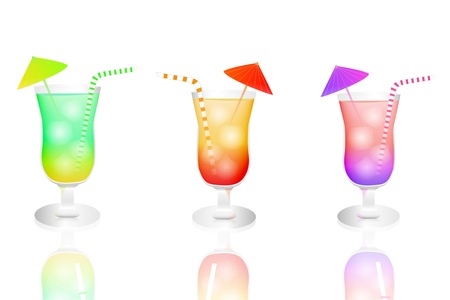 Image of colorful tropical drinks isolated on a white background
