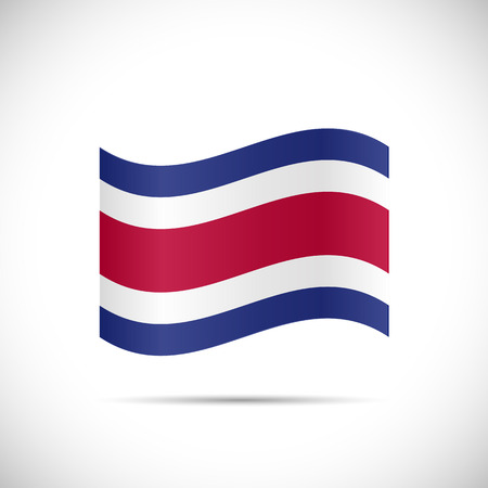 Illustration of the flag of Costa Rica isolated on a white background.