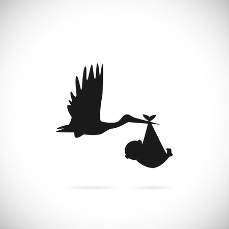Illustration for Illustration of a stork carrying a baby isolated on a white background. - Royalty Free Image