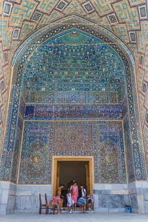 SAMARKAND, UZBEKISTAN - AUGUST 28, 2016: detail of mosaic of ceramic tiles in the Ulugh Beg Madrasah in Samarkand, Uzbekistan