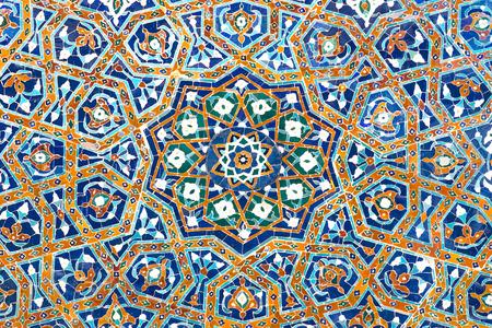 Detail of mosaic of ceramic tiles in the Ulugh Beg Madrasah in Samarkand, Uzbekistan