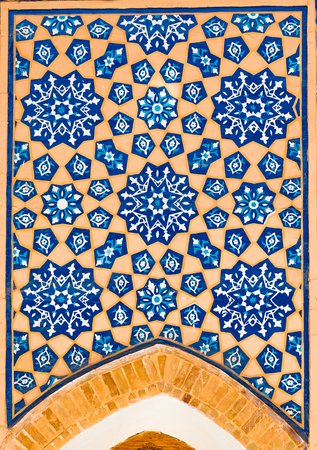 Detail of mosaic of ceramic tiles in the Ulugh Beg Madrasah in Samarkand, Uzbekistan
