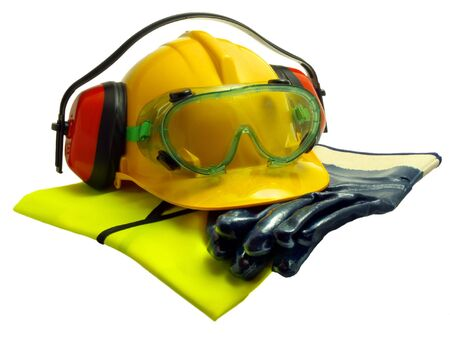 Gloves, luminous vest hard hat ear defenders and goggles isolated on white