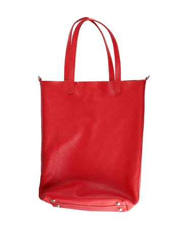 Photo for rectangular red women's leather bag with handles isolated on white background - Royalty Free Image