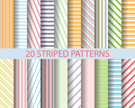 Illustration pour 20 color stripes patterns,  Pattern Swatches, vector, Endless texture can be used for wallpaper, pattern fills, web page,background,surface - image libre de droit