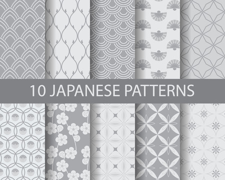 Ilustración de Asian traditional seamless patterns, pattern Swatches, vector, Endless texture can be used for wallpaper, pattern fills, web page,background,surface - Imagen libre de derechos