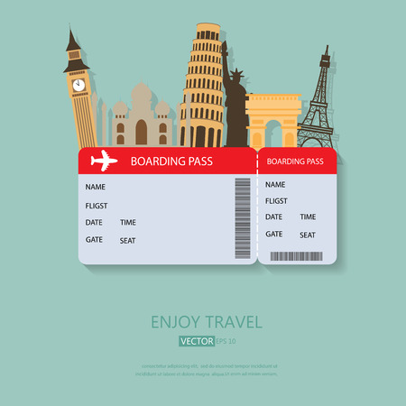 travel and Flights background for tourist,  holidays and vacation. items are include air ticket and world heritage vector, text can be added