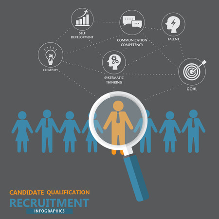 Illustration pour human resource or HR management infographics element and background. recruitment process. Can be used for statistic , business data, web design, info chart, brochure template. vector illustration - image libre de droit