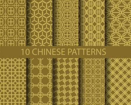 10 different chinese gold traditional patterns,  Pattern Swatches, vector, Endless texture can be used for wallpaper, pattern fills, web page,background,surface