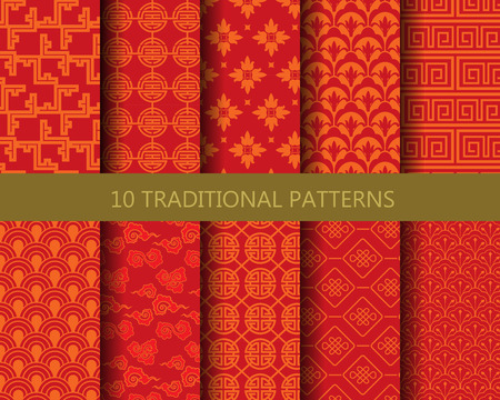 10 different traditional chinese patterns. Endless texture can be used for wallpaper, pattern fills, web page background,surface textures.