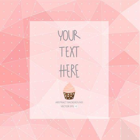 Ilustración de sweet pink pattern, low poly design, hipster and girly concept with logo, text can be edited,texture can be used for wallpaper, pattern fills, web page background,surface textures. - Imagen libre de derechos