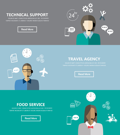 Illustration pour Technical support banners set assistant mans and woman with icons flat design. Can be used for one page website, business data, web page design, cover page, brochure template. Vector illustration - image libre de droit