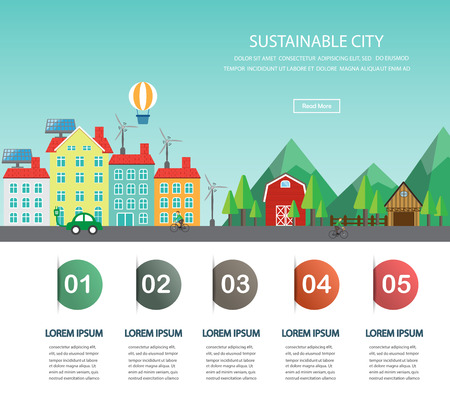Environment, ecology infographic elements.  big city and countryside landscape. Can be used for background, layout, banner, diagram, one page web design, brochure template. Vector illustration