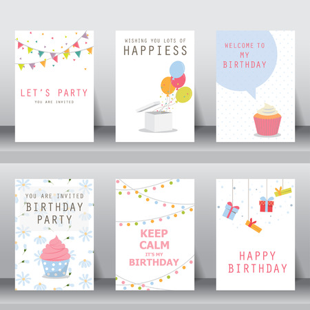 birthday, holiday, christmas greeting and invitation card.  there are balloons, gift boxs, confett, cup cake. vector illustration