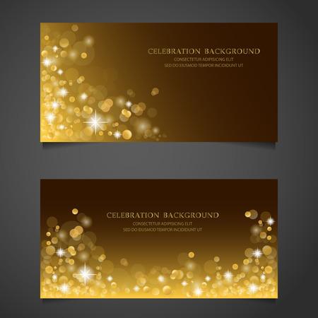 Golden sparkles banner set. background, premium concept. gift voucher certificate coupon. web design. vector illustration